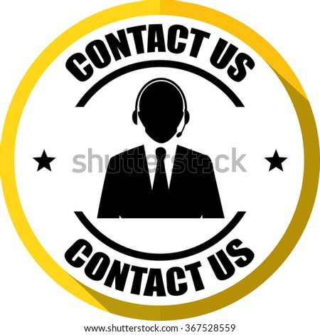 Contact us(Customer care icon) yellow, Button, label and sign? - stock photo