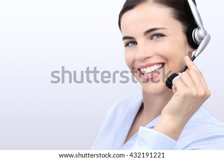 contact us, customer service operator woman with headset smiling isolated on white background - stock photo