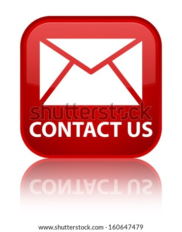 Contact us (email icon) glossy red reflected square button - stock photo