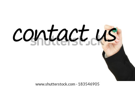 Contact us hand writing on transparent board - stock photo
