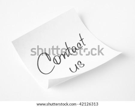 contact us handwritten message on sticker - stock photo