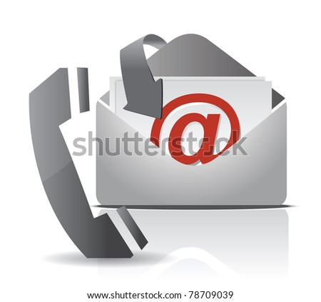 contact us illustration design isolated over white - stock photo