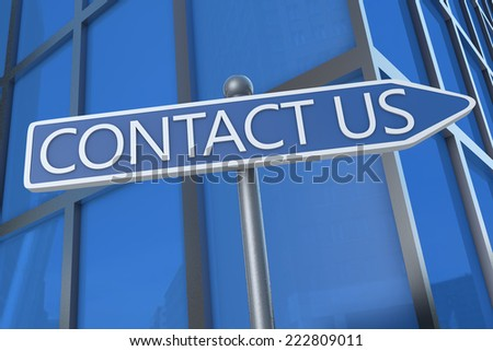 Contact us - illustration with street sign in front of office building. - stock photo