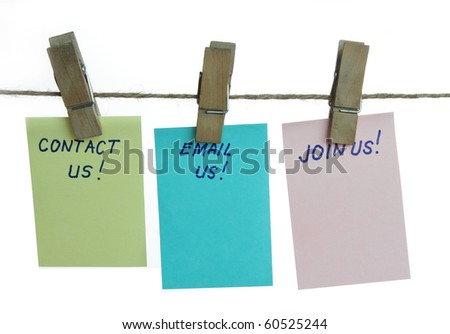 Contact us, join us, email us isolated in white background - stock photo