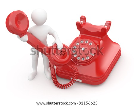 Contact us. Man with phone on white isolated background. 3d - stock photo