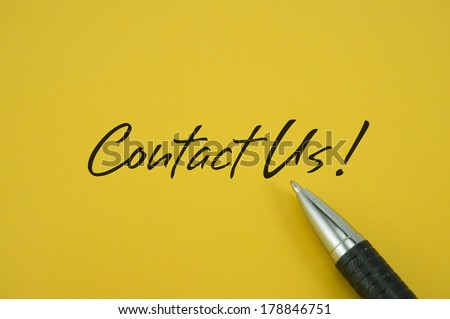 Contact Us! note with pen on yellow background
