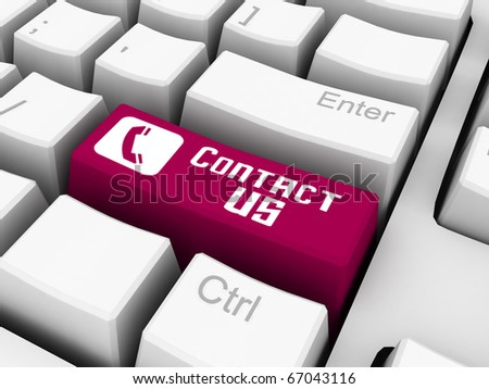 contact us on red keyboard button - stock photo