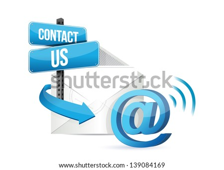 contact us online email sign over a white background - stock photo