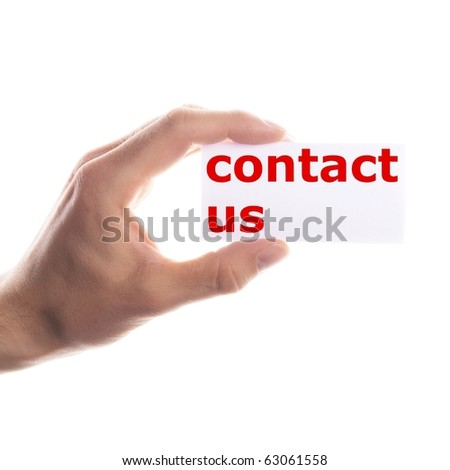 contact us or service concept with hand holding paper - stock photo