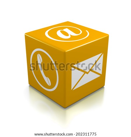 Contact Us Orange Cube on White Background - stock photo