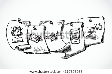 Contact us phone customer service user support paper icons tags sketch set  illustration - stock photo