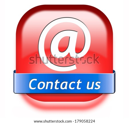 contact us red button for feedback icon. Coordinates and address for customer support and extra information