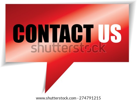 Contact us red speech square template | business banner with symbol icon. - stock photo
