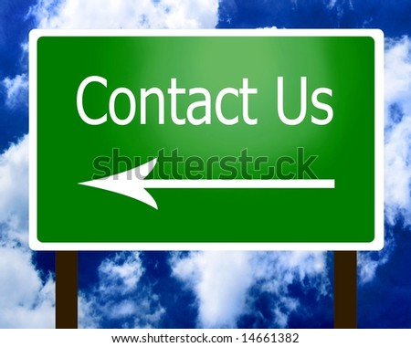 Contact Us sign guidepost arrow left - stock photo