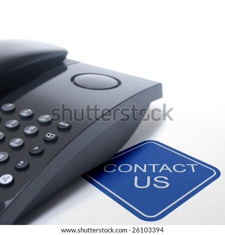 contact us sign with black telephone on white background - stock photo