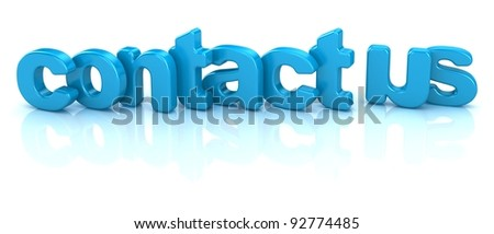contact us text 3d over white background