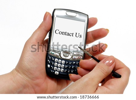 Contact Us text on a white PDA screen. Great for website contact pages - stock photo