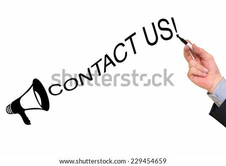 Contact Us text on white background - stock photo