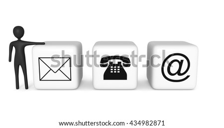 Contact us: white cubes with a black 3d man on a white background, 3d illustration