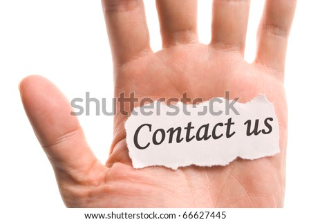 contact us, word in hand, word on piece tear paper - stock photo