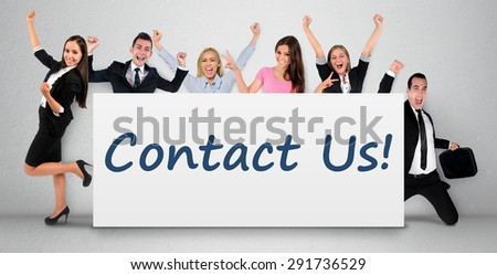 Contact us word writing on banner