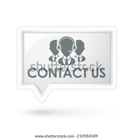 contact us words with services icon on a speech bubble over white - stock photo