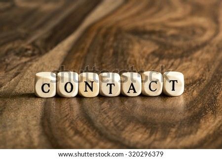 CONTACT word background on wood blocks - stock photo