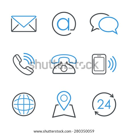 Contacts simple  icon set - envelope, email, chat, telephone, mobile phone, map, globe and business hours