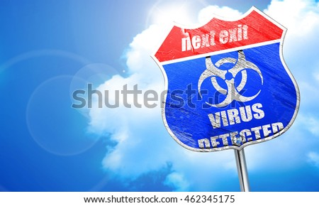 Contagion concept background, 3D rendering, blue street sign