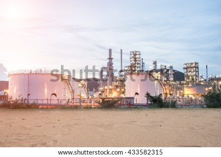 Container and Oil Refinery factory in the morning and Sunrise, Petroleum, industrial,