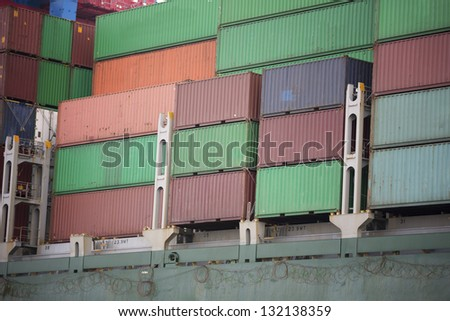 Container at a cargo ship. - stock photo