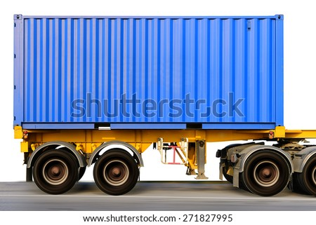 Container at the Dock with Truck isolated on white background - stock photo