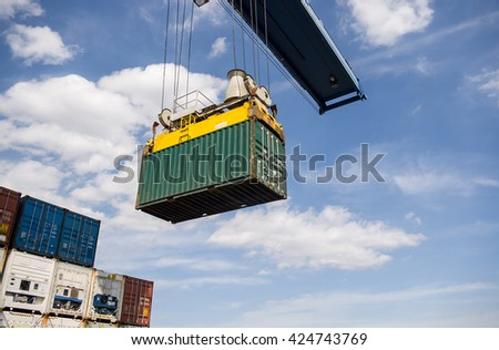 container box shipping import and export - stock photo
