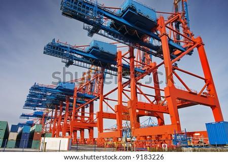 Container bridges in the port of Hamburg - stock photo