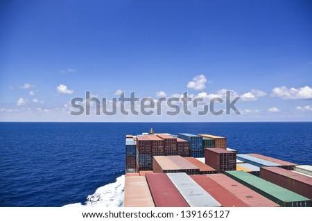Container cargo ship move to the ocean