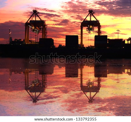 container cargo shipping at morning twilight - stock photo