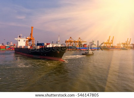 container,container ship in import export and business logistic.By crane ,Trade Port , Shipping.cargo to harbor.Aerial view.Water transport.International.Shell Marine.Top view.