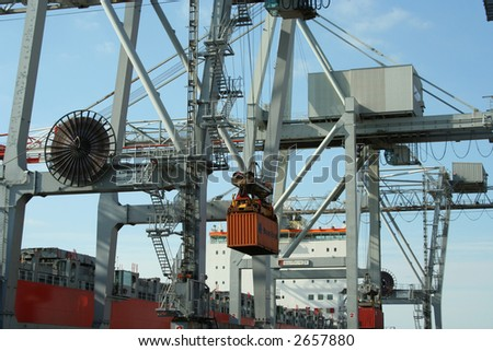 Container cranes in a major port - stock photo
