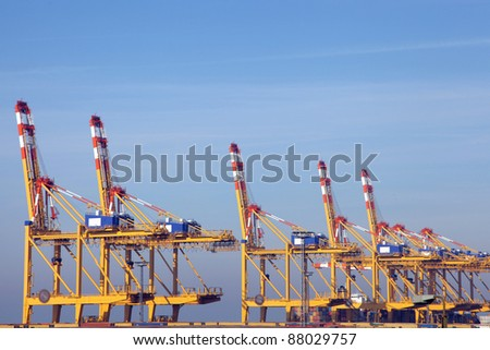 container cranes in the port of Bremerhaven - stock photo