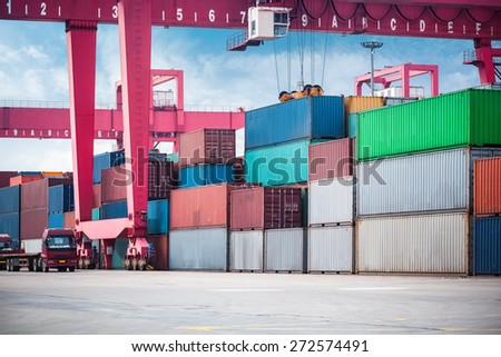 container depot for handling under gantry container crane  - stock photo