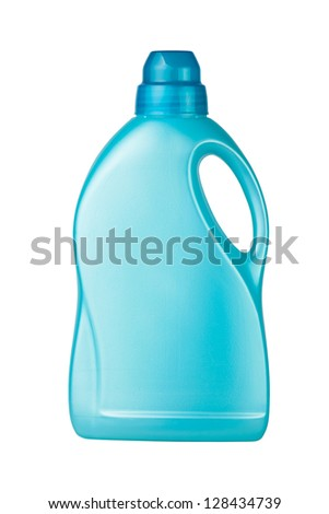 container detergent blue on white background