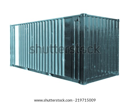Container for freight shipping isolated over white - cool cyanotype - stock photo