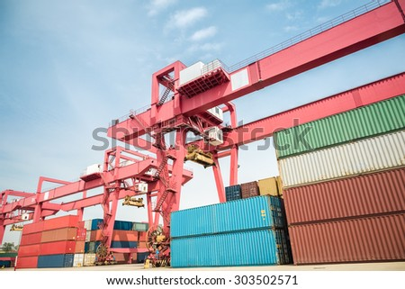 container freight yard  against a blue sky , modern logistics background - stock photo