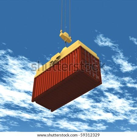 container hoisted by a crane - stock photo