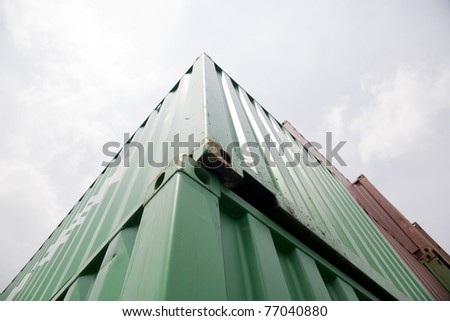 container  in port look through the sky - stock photo