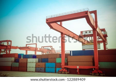 container intermodal yard at dusk - stock photo