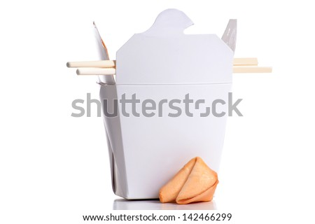 container of chinese food with chop sticks - stock photo