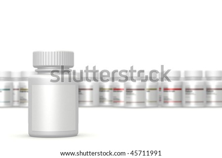 Container of pills on a white plane. - stock photo