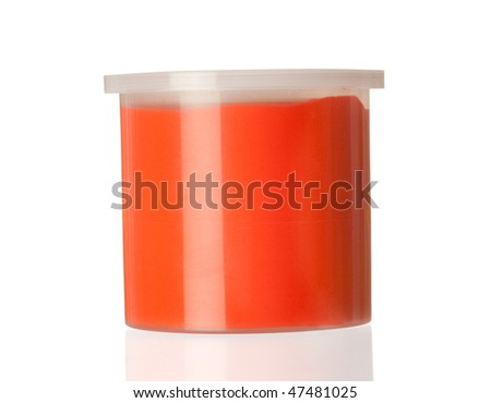 Container of red paint isolated on white background with reflection