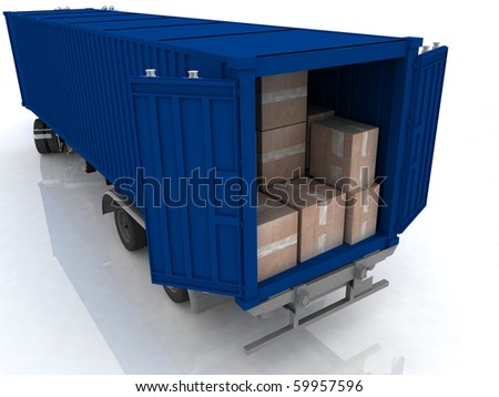 Container of truck with boxes  on white - stock photo